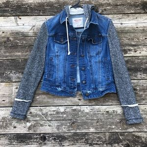 Mossimo Girls Denim Jean Jacket Blue Gray Hoodie